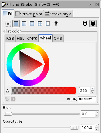 Inkscape's Fill and Stroke pallet