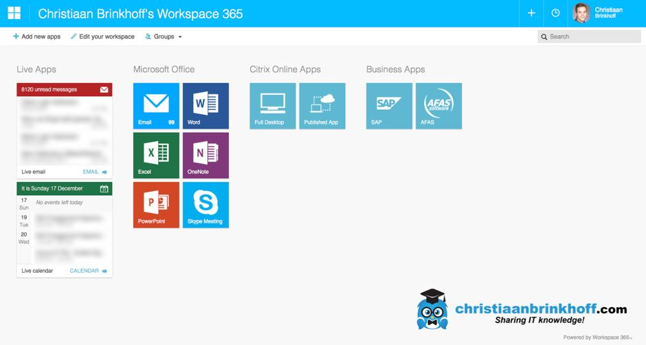 Configure Workspace 365 to use Office 365 and Citrix Virtual Apps