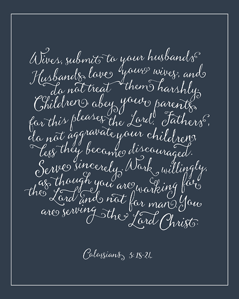 Rules for Christian Households \u2013 Navy \u2013 Christie Lacy
