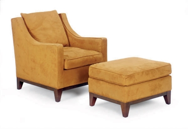 A Brown Suede Upholstered Club Chair And Ottoman