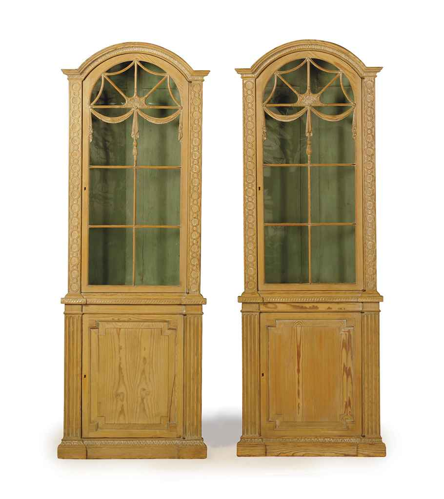 A Pair Of English Pine Corner Bookcase Cabinets First