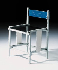 A grey, black and blue painted chair , DESIGNED BY WILLEM ...