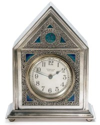 TIFFANY FURNACES , A SILVERED AND ENAMELED BRONZE CLOCK ...