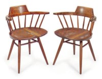 A SET OF FOUR BLACK WALNUT 'CAPTAIN' CHAIRS, , GEORGE