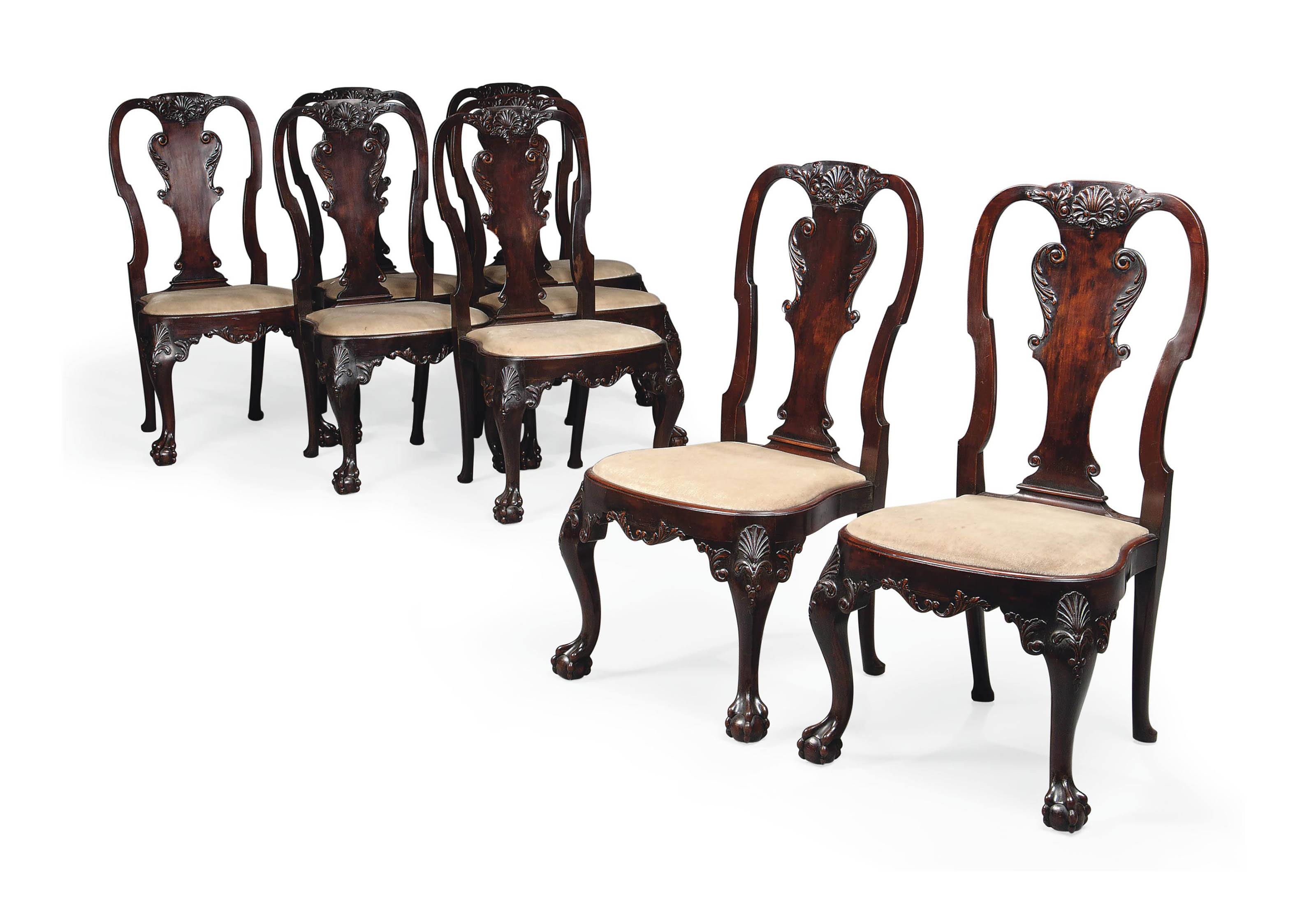 A Set Of Eight Carved Walnut Dining Chairs By Waring