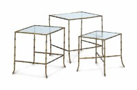 A SET OF THREE FRENCH GILT-METAL FAUX BAMBOO NESTING ...