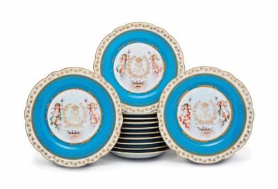 Twelve Sevres Style Porcelain Turquoise Ground Monogrammed