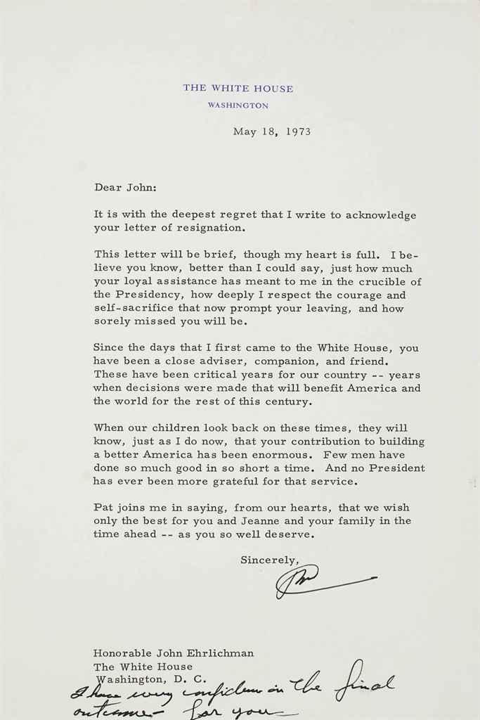 NIXON, Richard M Typed letter signed (\