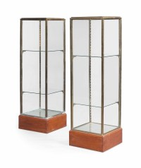 A PAIR OF BRASS AND GLASS DISPLAY CABINETS   MID-20TH ...