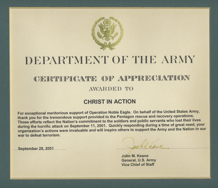 Army Certificate Of Appreciation - Fiveoutsiders