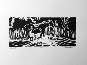 A4 Lino Cut, May 2016, Hay Fields