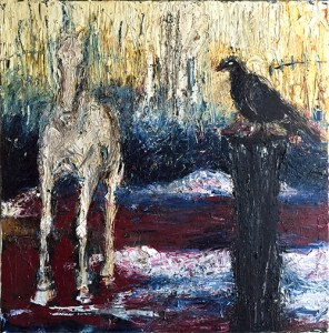 Horse and Crow September 2015 Mixed Media on Canvas 80cm x 80 cm