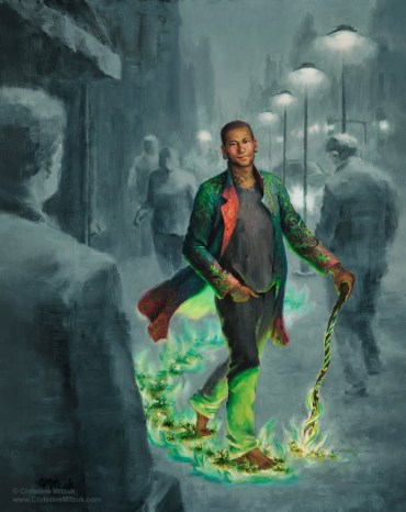 oil painting of jack in the green in color sauntering down a gray drab city street by christine mitzuk