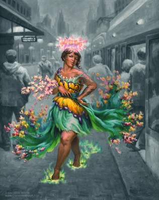 oil painting of the may queen in color sauntering down a gray drab city street by christine mitzuk