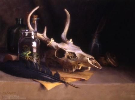 mysterious oil painting of a deer skull, crow quill pen, parchment, a frog in a jar and mysterious bottles by christine mitzuk