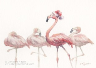 watercolor of a flamingo wearing a Santa hat and strutting his stuff while other flamingos look surprised by Christine Mitzuk