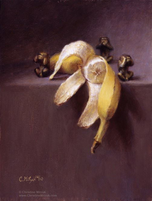 still life oil painting of three brass monkeys and a partially eaten banana by christine mitzuk