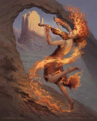 female character as fire elemental paired with a violin painted digitally in Photoshop by Christine Mitzuk