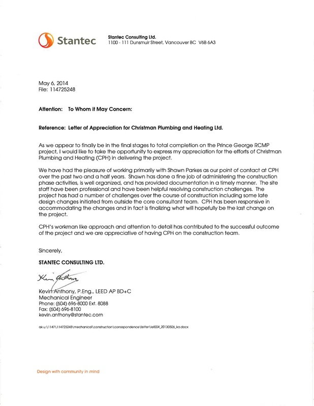 Christman Plumbing  Heating LTD recieves Letter of Appreciation for