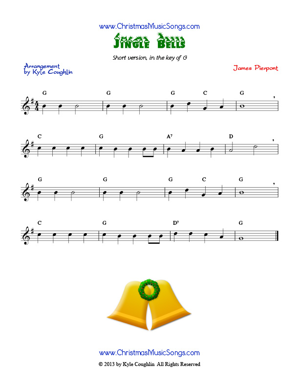 Jingle Bells free sheet music of an easy version of the song - bass cleft sheet music