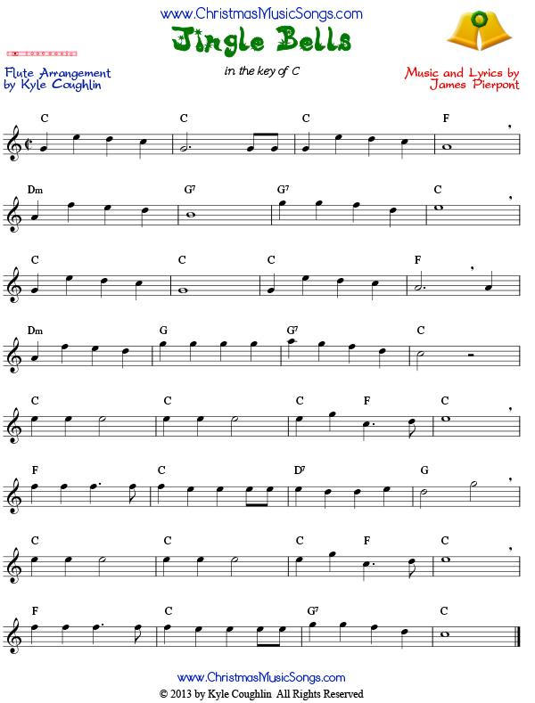 Jingle Bells for flute - free sheet music