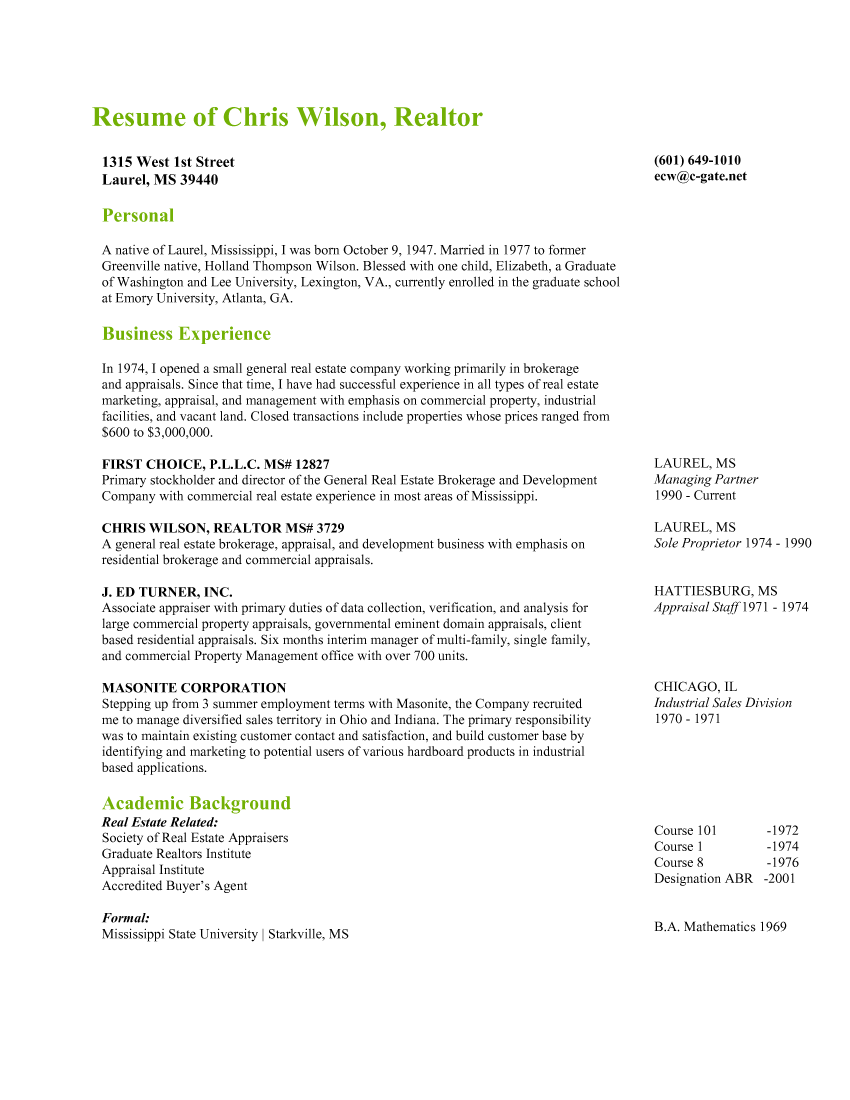 professional real estate resume sample