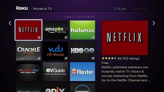 Roku 3 has hundreds of channels