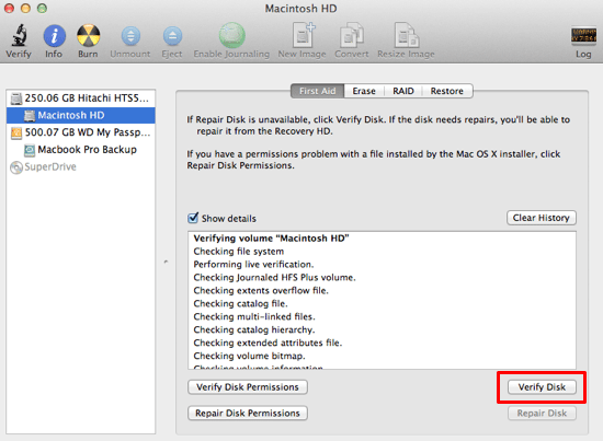 Verify your Macintosh HD occasionally to check for errors