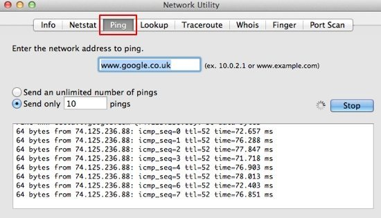 Network Utility screenshot