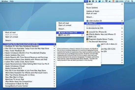RSS Menu Screenshot