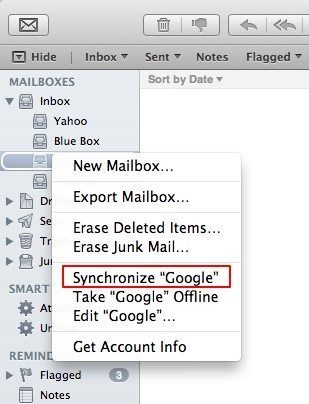 Synchronise mail accounts