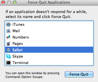The Force Quit Applications Pop-up