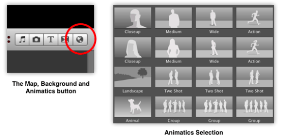 The Map, Background and Animatics button