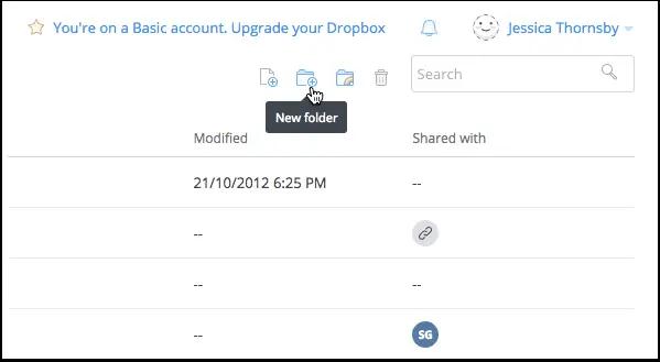 dropbox create new folder