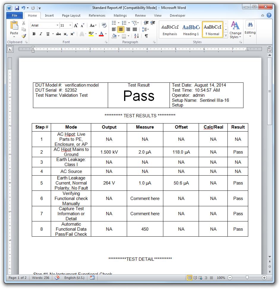quality assurance format