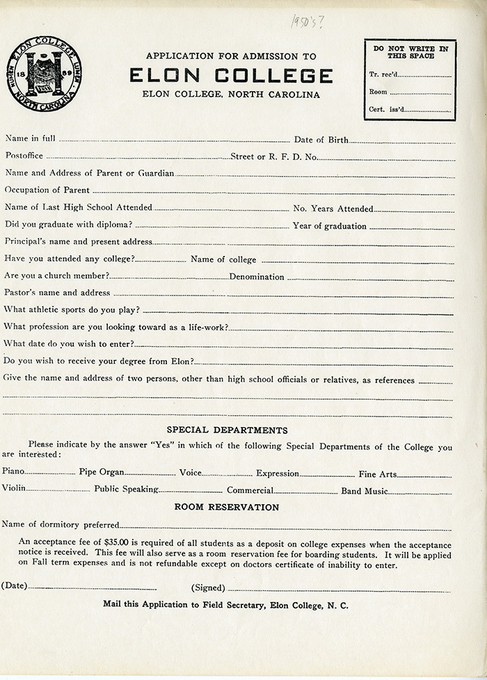 Elon College\u0027s Application, 1913 Have You Read Any Homer? - The