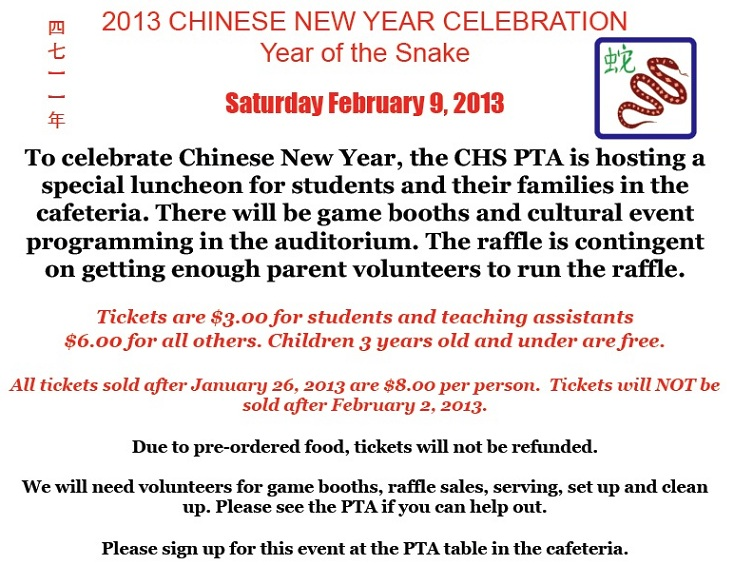 Chinese New Year celebration 2/9 \u2013 CHS