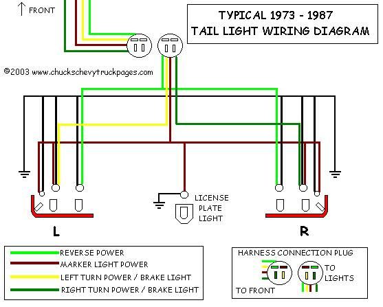 Headlight And Tail Light Wiring Schematic / Diagram - Typical 1973