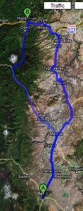 Bend, Oregon to Hood River, Oregon (two routes)