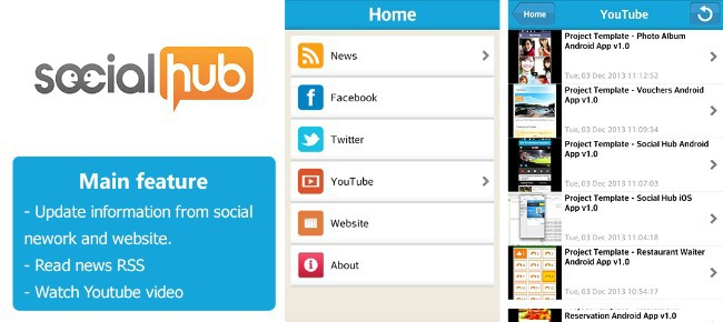 Buy Social Hub App Template for Android Social Networking - android template