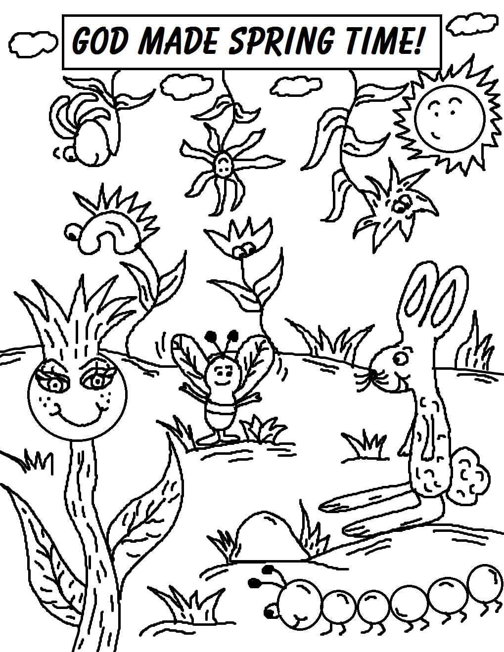 Coloring pages for spring -  Coloring Pages God Made Spring Time Download