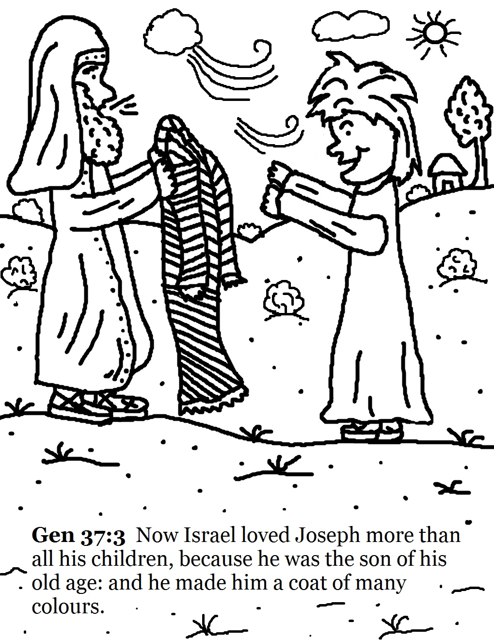 Israel giving joseph a coat
