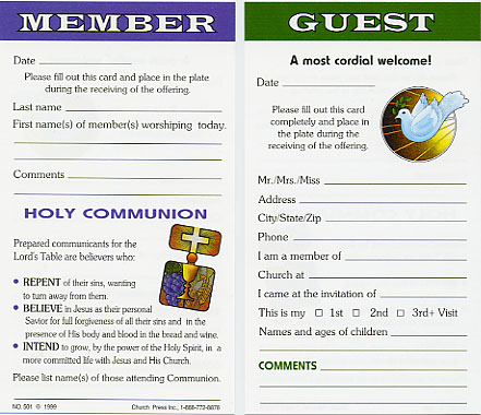 Church Attendance Cards -- Church Press, Inc - guest card template