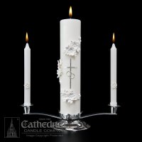 Wedding Unity Candle Set | Silver and White ...