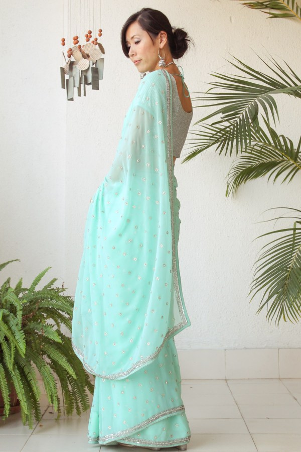 Mint Green Saree e-10
