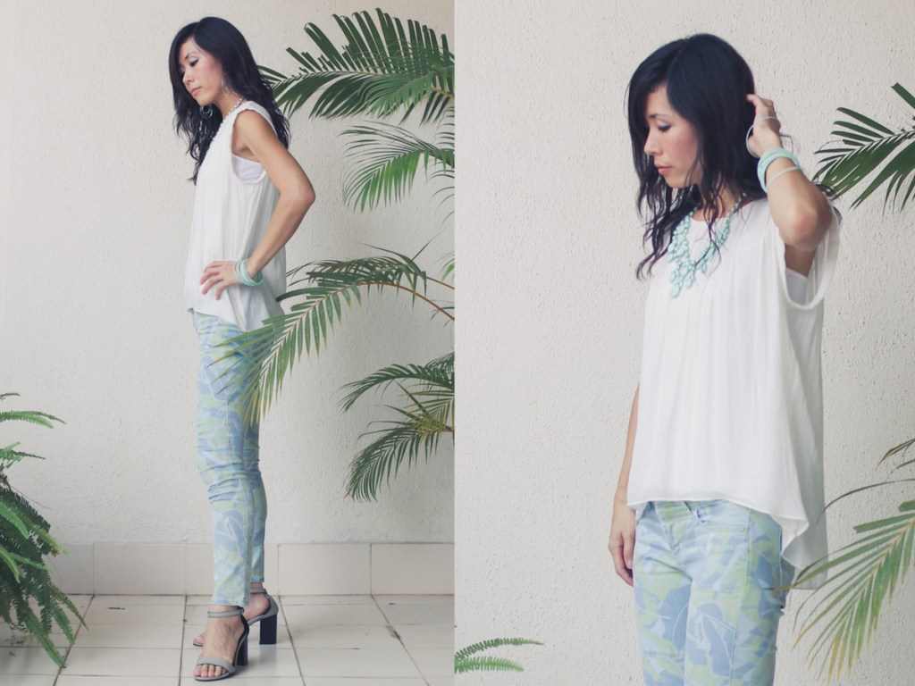 Monday Mode ☆ Gap Flower Print Pants, Zara Shirt & Forever 21 Necklace