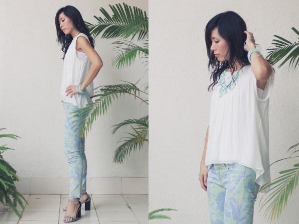 Gap flower print pants Zara shirt Forever 21 necklace