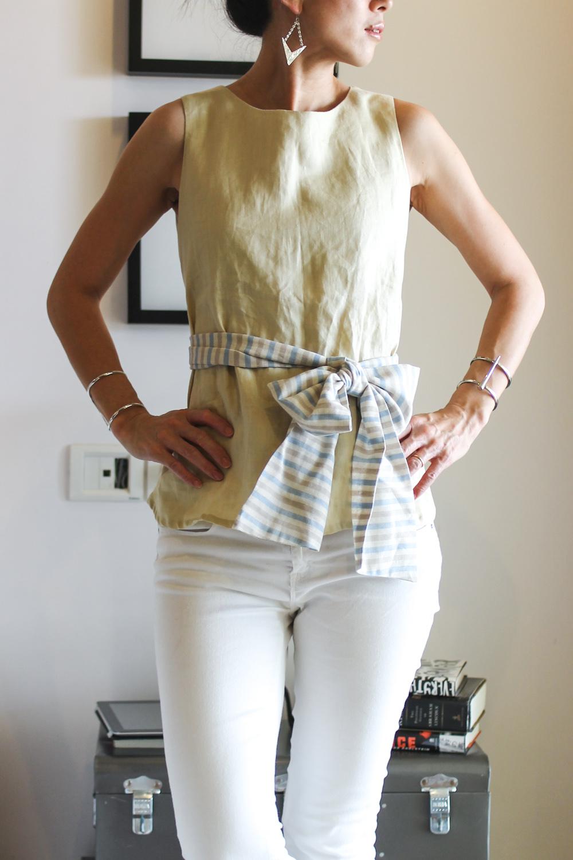 maomao yumi top navy shirt-5
