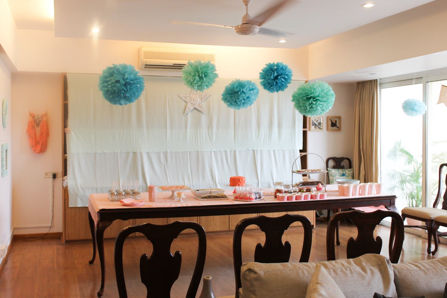 Blue Coral Pink Party Decoration-23
