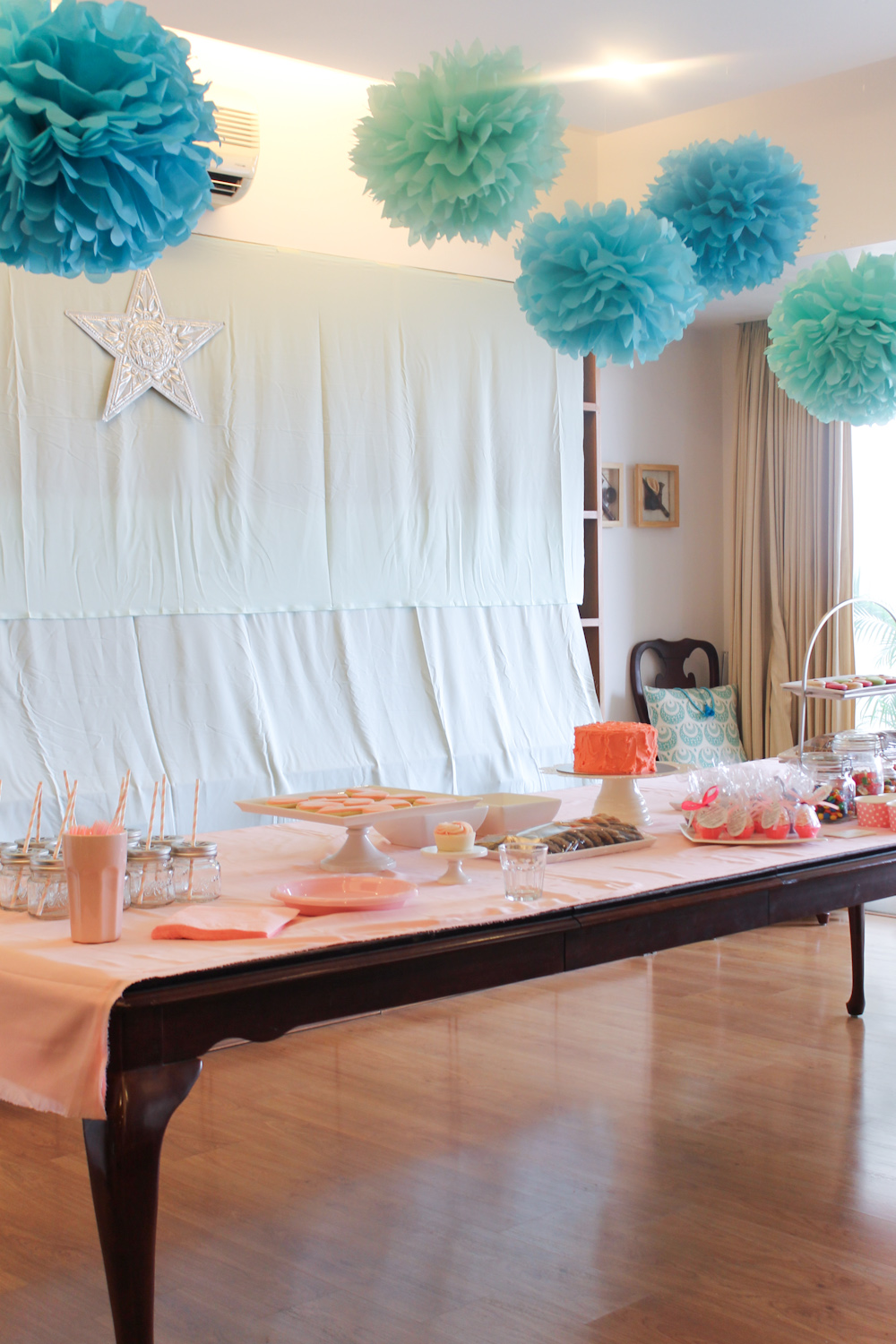Blue Coral Pink Party Decoration-7